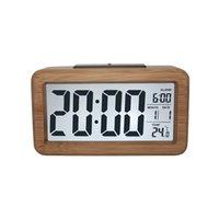 Деревянный цифровой будильник, датчик ночной свет с обезжиренным дата дата часы светодиодные часы настенные часы DDA5497