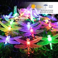 Party Decoration 30 LED Solar Powered String Lights Waterproof Decorative Dragonfly Fairy For Garden Gate Yard Christmas