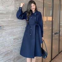 Women's Wool & Blends Autumn Winter Woolen Coat Woman 2021 Double Row Buckle Waist Strap Long Overcoat Korean Style Solid Outwear Mujer