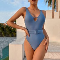 Sexy One Piece Swimsuit for Women V Neck Solid Blue Bathing Suit Padded Push Up Backless Beachwear Cut Out Brazilian Bodysuit Summer