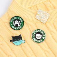 Katter Kaffe Emalj Pin Custom Pug Puppy Cat Cafe Brosches Badges Bag Shirt Lapel Pin Buckle Söt djur Smycken Gåva till vänner 707 T2