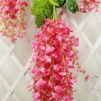 Glicine Decorazione di nozze Flower Flower Glicine artificiale Fiore di seta lungo 110 cm bianco viola rosso verde cce9102