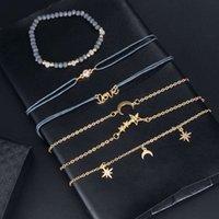 اليدوية والمجوهرات بالجملة مزاجه ستار القمر شخصية قلادة سوار سلسلة رمادي الخرز سوار ستة قطعة مجموعة سوار