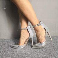 Handmade Womens Stiletto High Heels Dress Shoes Real Photos Patchwork Leather Buckle Ankle Strap Pointed-toe Evening Party Prom Fashion Court Pumps D545
