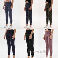 2021 Womens Hosen Yoga Leggings Workout Hohe Taille Gym Align Lu Lulu Pocket Zwei seitlich laufende Sport Hose Hohe Qualität