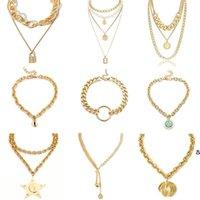 Панк мультислойный жемчужный колье ожерелье воротник Ожерелье Девы Мэри монеты хрустальные кулон женские ювелирные изделия DHD6981