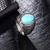Love Ring fashion hand jewelry Green Turquoise Personalized temperament versatile