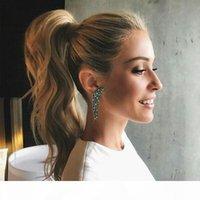 Celebrity ondulé cheveux blonds cordon de cordon de cordon de queue de queue de queue de cheval dans le miel blonde fantaisie queue de queue de cheval de cheval 100g-140g pour femmes blanches