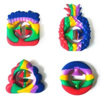 Party Favor Nipper Silicone Grip snapper Fidget Toy Cartoon rainbow sucker Hand Grab Snap Game Sensory Autism Anxiety Reliever WWNM1