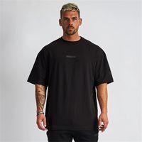 5 색 남성 티셔츠 근육 피트니스 스포츠 남성 힙합 대형 티셔츠 코튼 야외 여름 패션 짧은 소매