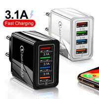 4 Port USB Quick Charge 3.0 Mobile Phone Chargers Wall Fast Charging For Samsung iPhone Universal Charger Adapter EU US UK Plug