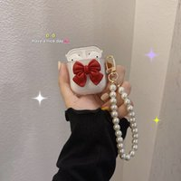 Cute 3D Bow Pearl Bracelet Transparent Earphone cases for Apple airpods pro 3 2 1 Wireless Headset Box Soft TPU Cover