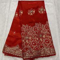 2021 Kırmızı Afrika George Kumaş Sequins Ile Ham İpek Nakış Sarıcı Malzeme Bezi Tissu TELA5YARlar Dikiş Elbise OG2 için