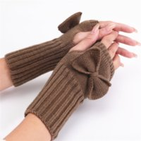 lt6 2020korean autumn and winter women's bow cute fashion knitted wool warm half warm mittens vesbutterfly gloves finger open fingered glo