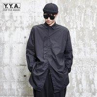 Gothic allentato vestito da uomo a maniche lunghe personalità nera uomo split single bordetted top vintage casual alla moda pulsante alla moda magliette