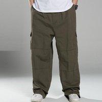 Men's Pants Plus Size 8XL140KG Autumn Winter Men Cargo Thick High Street Safari Style Pockets Skateboard Out Door Straight