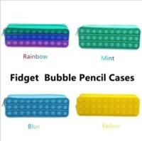 Creative Fidget Pencil-case Children's Rainbow Push It Bubble Silicone Capacity Storage Pouches Stationery Box Toys Sensory Decompression for Students