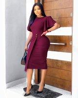 Womens Roupas Africano Europeu e Americano 2021 Verão Lotus Folha Manga Split Vestido De Negócios Business Business Plus Size Women Roupas