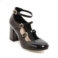 큰 크기 봄 여성 펌프 두꺼운 블록 하이힐 특허 가죽 라운드 발가락 가을 사무실 드레스 파티 신부 레드 레이디 신발 34-43 210610 6407P3BW
