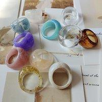 Géométrie irrégulière rond ronde bagues de la mode acrylique résine colorée transparente anneau femme fête daily vintage bijoux accessoires cadeau