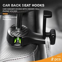 Hooks & Rails 2 In 1 Car Headrest Hook With Phone Holder Seat Back Hanger For Bag Purse Grocery Cloth Foldble Clips Organizer Drop