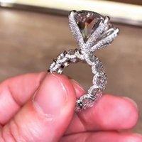 빈티지 타원형 컷 8ct 실험실 다이아몬드 링 925 스털링 실버 쥬얼리 약혼 결혼식 밴드 링 여성 남성 파티 Bijou 선물