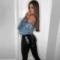 Women's Pants & Capris Melody Slim Leggings Skinny For Women Black Motorcycle Streetwear Folds Zippers PU Leather Workout