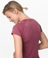 Lu Yoga إمرأة swiftly قميص تك t قميص قصير الأكمام الطاقم 2.0 القمصان الزى الرياضة في الهواء الطلق الزي 0106 p2ym #