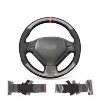 Araba Direksiyon Kapak Çözgü Için Infiniti G G55 G35 G37 EX35 EX37 Kaymaz Dayanıklı Siyah Süet PU Karbon Fiber