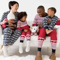 Family Matching Christmas Striped Snowflake Printing Pyjamas Sets Nightwear Adult Mum Dad Baby Kids Sleep Set