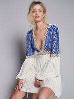 Gelegenheitskleider Zawfl Britische Frauen Stickerei Hippie Boho Menschen Kleid V-Ausschnitt Vollarm Hohe Taille Mini Vestidos Femininos