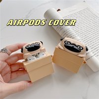 Cute 3D Dog Silicone Storage Box Cover for TWS Apple Airpods2 Pro Wireless Headphone Soft Pouch Bag with Keyring Carabiner Shockproof