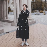 Women's Wool & Blends LANMREM 2021 Autumn Winter Double-breasted Side Double-pockets Mid-calf Length Warm All-match Black Woolen Coat For Wo