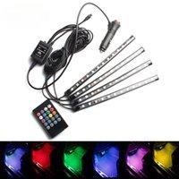 Coche USB LED RGB Atmósfera Tray Light Music Music Control de voz Interior Styling Decorativo Colorido Dinámico Foot Ambient Luces Lámpara
