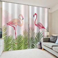 3D Flamingo Window занавес занавес отключенные шторы для детей домашнего декора гостиная спальня Drapes