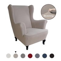 Chair Covers Suede Elastic Armchair Cover Wingback All-inclusive Sloping Arm King Back Tiger Bench Wing Sofa