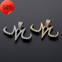 Personality Necklaces Jewelry Luxury 18K Gold Plated Letter M Pendant Street Fashion Bling Zircon Hip Hop Wholesale LN186
