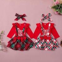 Christmas Kids Girls Clothing Set Cute Baby Letter Print Long Sleeve Romper Plaid Suspender Skirts Headbands 3Pcs Set Outfits