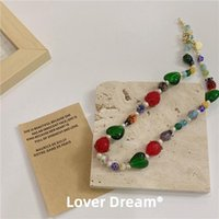 Chokers AOMU Retro Cute Colorful Glass Love Fruit Insect Beaded Clavicle Chain Smooth Irregular Geometric Short Necklace For Women Gifts