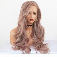 Fantasy Beauté Longue Vague Résistante à la chaleur Synthétique Dentelle Perruque Cendres Rose Dentelle Perruque de rechange Cheveux Perruques de rechange pour femmes