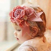 10 Pçs / lote Rose Seda Bow Flor Bebê Headband com Elastic Soft Lace Band Princesa Pearl Headwrap Acessórios de cabelo