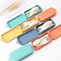 للطي مجموعة أدوات السكاكين القابلة للإزالة سكين شوكة ملعقة عيدان الإبداعية القمح سترو المحمولة أداة نزهة OWC7365