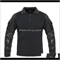 Куртки Мужские Открытые тактические Туристые футболки, Армия камуфляж с длинным рукавом охотничья рубашка, мужская дышащая спортивная ткань 6KBU2