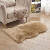 Carpets Rectangle Soft Sheepskin Fluffy Area Rug Faux White Fur Carpet Shaggy Seat Pad Home Decor Long Hair Solid Mat Living Room