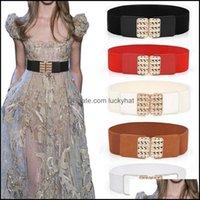 Cinturones Aessories Aessiessors Campos de Rhinestone Wide Cinturones Mujeres Vestido de moda Simple Cintura Elástica Cinturón Slim Cummerbund Strap Drop Drop