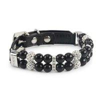 Hundehalsbänder Leashes Designer Pet Zubehör Wire Seil Black Pearl und Leine 2-teilige Set Einstellbare Größe S Collar Supplies PIAU