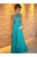 Nane Yeşil Uzun Şifon Balo Elbise Seksi Bir Çizgi Aplike Boncuklu Kadınlar Özel Durum Giyim Parti Elbise Custom Made Artı Boyutu