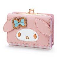 새로운 도착 최고 품질의 카와이 귀여운 작은 지갑 짧은 숙녀 소녀 고양이 개 얼굴 빨간색 격자 무늬 핑크 지갑 Trifold Anime Leather Wal