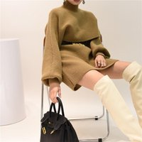Winter Knitted Suit Fashion Turtleneck Lantern Sleeve Short Sweater + Slim Sleeveless Dress Two-piece Set Women's Tracksuits