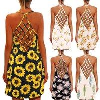 Casual Dresses Fashion Design Backless Sexy For Womens Sunflower Print O-Neck Sleeveless Summer Tank Dress 2021 Robe Femme